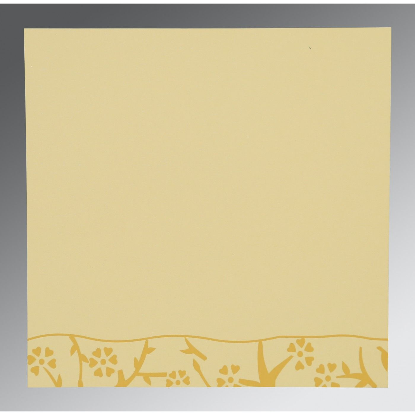 MUSTARD YELLOW WOOLY FLORAL THEMED - SCREEN PRINTED WEDDING INVITATION : CW-8216M - IndianWeddingCards