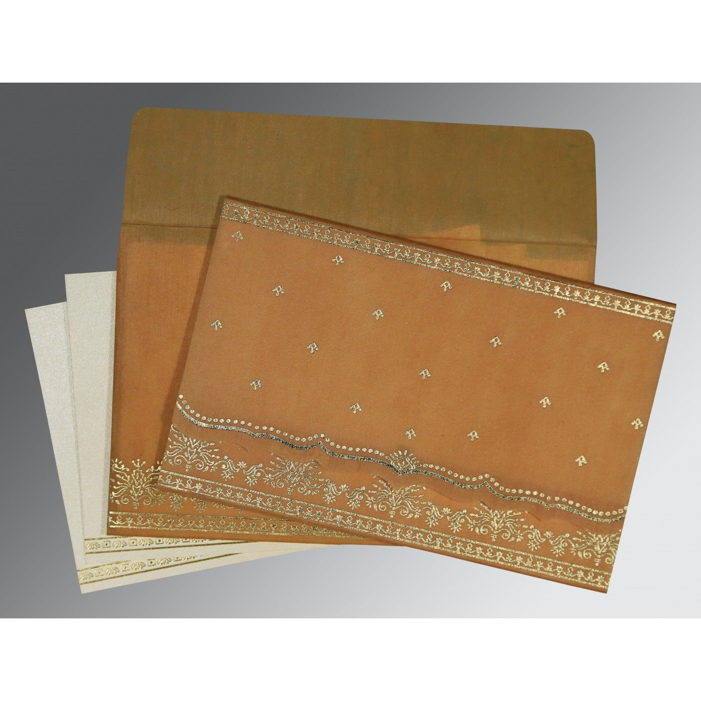 CHAMOISEE WOOLY FOIL STAMPED WEDDING INVITATION : CSO-8241J - IndianWeddingCards