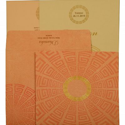 Baby Pink Matte Foil Stamped Wedding Invitation : CI-1889 - IndianWeddingCards