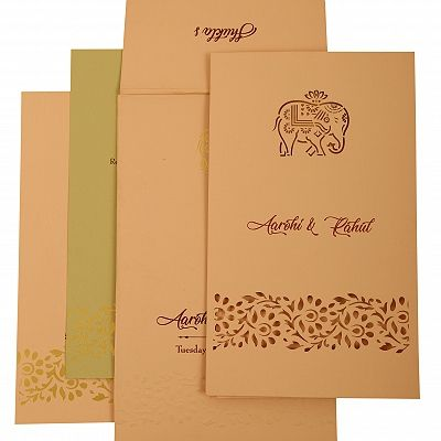 Baby Pink Matte Laser Cut Wedding Invitation : CSO-1924 - IndianWeddingCards