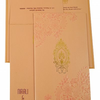 Baby Pink Shimmery Floral Themed - Foil Stamped Wedding Invitation : CG-1921 - IndianWeddingCards