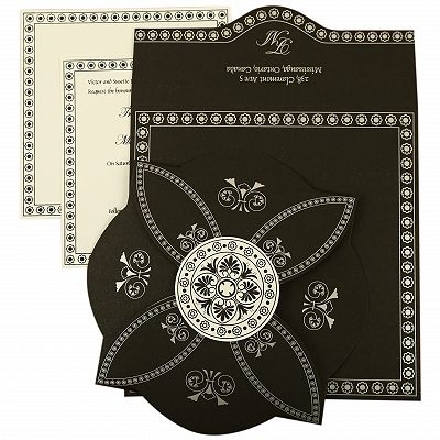 Black Butterfly Themed - Screen Printed Wedding Invitation : CI-820E - IndianWeddingCards