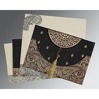 Black Handmade Cotton Embossed Wedding Card : CW-8234A - IndianWeddingCards