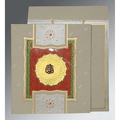 Black Matte Embossed Wedding Card : CW-1144 - IndianWeddingCards