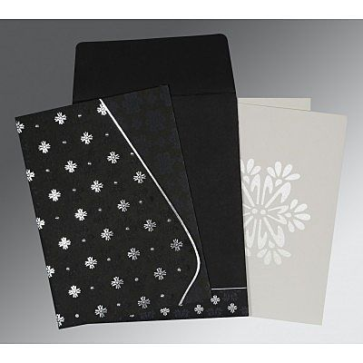 Black Matte Floral Themed - Foil Stamped Wedding Invitation : CSO-8237H - IndianWeddingCards