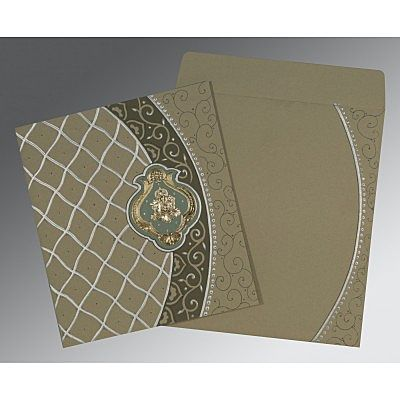 Black Matte Foil Stamped Wedding Card : CIN-2114 - IndianWeddingCards