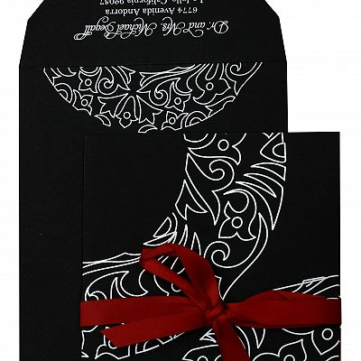 Black Matte Paisley Themed - Screen Printed Wedding Invitation : CC-830 - IndianWeddingCards