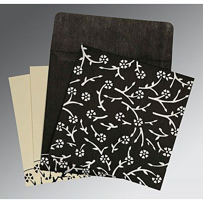 Black Wooly Floral Themed - Screen Printed Wedding Invitation : CI-8216N - IndianWeddingCards