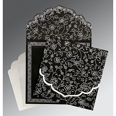 Black Wooly Floral Themed - Screen Printed Wedding Invitation : CS-8211B - IndianWeddingCards