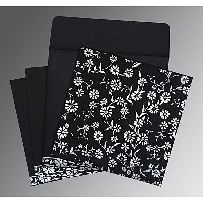 Black Wooly Floral Themed - Screen Printed Wedding Card : CS-8222J - IndianWeddingCards