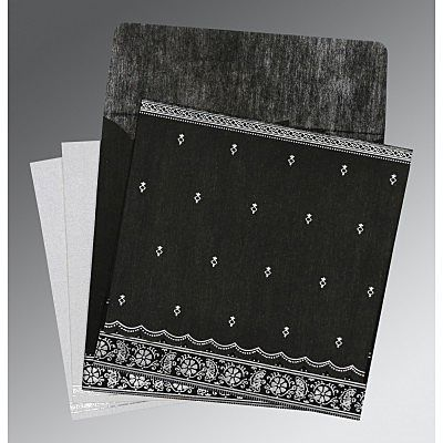 Black Wooly Foil Stamped Wedding Card : CIN-8242B - IndianWeddingCards