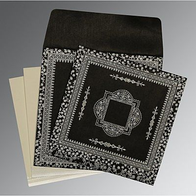 Black Wooly Glitter Wedding Card : CD-8205L - IndianWeddingCards