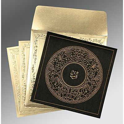Black Wooly Screen Printed Wedding Card : CIN-8214D - IndianWeddingCards