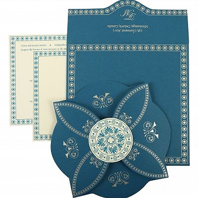 Blue Butterfly Themed - Screen Printed Wedding Invitation : CD-820D - IndianWeddingCards