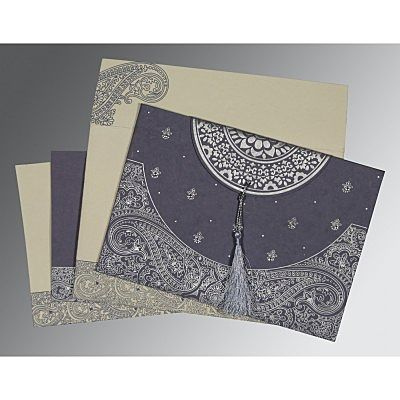 Blue Handmade Cotton Embossed Wedding Card : CD-8234J - IndianWeddingCards