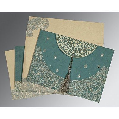 Blue Handmade Cotton Embossed Wedding Card : CRU-8234E - IndianWeddingCards