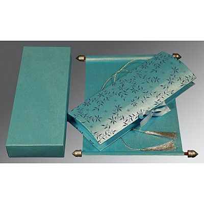 Blue Handmade Shimmer Wedding Invitation : CSC-5007D