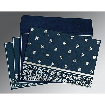 Blue Handmade Silk Screen Printed Wedding Card : CW-8215I - IndianWeddingCards