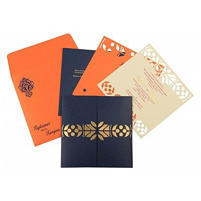 Blue Matte Embossed Wedding Invitation : CD-8260F - IndianWeddingCards
