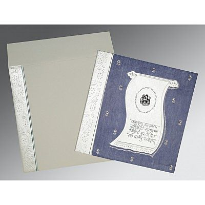 Blue Matte Embossed Wedding Card : CW-2109 - IndianWeddingCards
