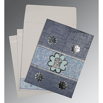 Blue Matte Floral Themed - Embossed Wedding Card : CSO-1285 - IndianWeddingCards