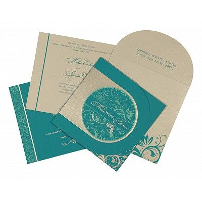 Blue Matte Paisley Themed - Screen Printed Wedding Card : CC-8264G - IndianWeddingCards