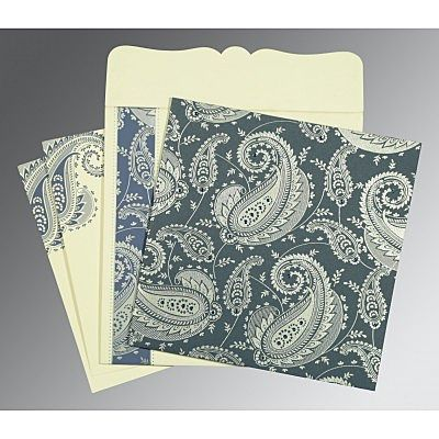 Blue Matte Paisley Themed - Screen Printed Wedding Card : CI-8250E - IndianWeddingCards