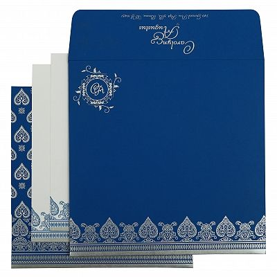 Blue Matte Screen Printed Wedding Invitation : CRU-809D - IndianWeddingCards