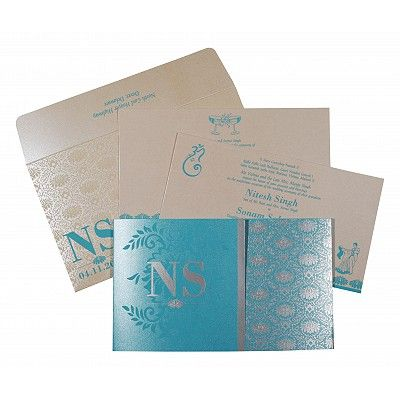 Blue Shimmery Damask Themed - Screen Printed Wedding Invitation : CS-8261E - IndianWeddingCards