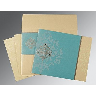 Blue Shimmery Damask Themed - Screen Printed Wedding Card : CSO-8253E - IndianWeddingCards