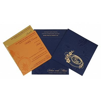 Blue Shimmery Floral Themed - Foil Stamped Wedding Invitation : CD-1774 - IndianWeddingCards