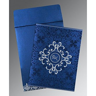 Blue Shimmery Screen Printed Wedding Card : CI-8244K - IndianWeddingCards