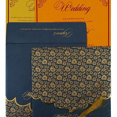 Blue Shimmery Unique Themed - Screen Printed Wedding Invitation : CG-1863 - IndianWeddingCards