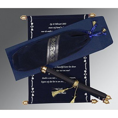 Blue Velvet Wedding Invitation : CSC-5004F - IndianWeddingCards