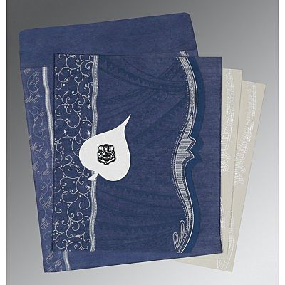 Blue Wooly Embossed Wedding Card : CIN-8210H - IndianWeddingCards