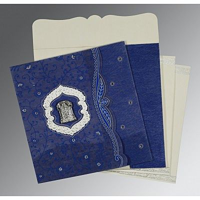 Blue Wooly Floral Themed - Embossed Wedding Card : CSO-8209J - IndianWeddingCards