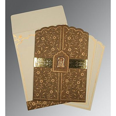 Brown Handmade Shimmer Floral Themed - Embossed Wedding Invitation : CSO-1422 - IndianWeddingCards