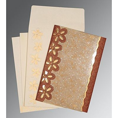 Brown Handmade Shimmer Floral Themed - Screen Printed Wedding Card : CW-1439 - IndianWeddingCards
