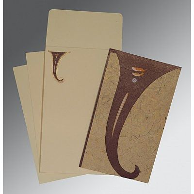 Brown Handmade Shimmer Unique Themed - Embossed Wedding Invitation : CW-2275 - IndianWeddingCards