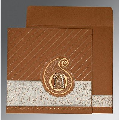 Brown Matte Embossed Wedding Card : CSO-1178 - IndianWeddingCards
