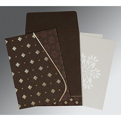 Brown Matte Floral Themed - Foil Stamped Wedding Invitation : CI-8237L - IndianWeddingCards