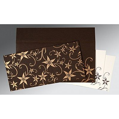 Brown Matte Floral Themed - Screen Printed Wedding Invitation : CD-8225C - IndianWeddingCards