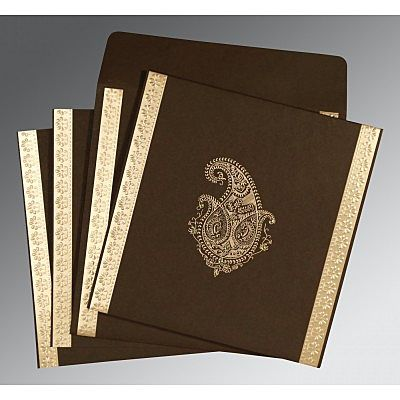 Brown Matte Paisley Themed - Embossed Wedding Invitation : CI-8231D - IndianWeddingCards