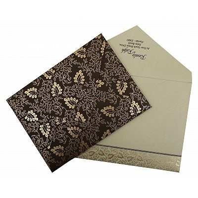 Brown Matte Paisley Themed - Screen Printed Wedding Invitation : CI-811A - IndianWeddingCards