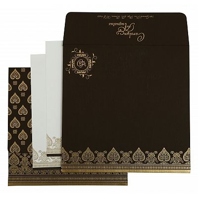 Brown Matte Screen Printed Wedding Invitation : CD-809E - IndianWeddingCards