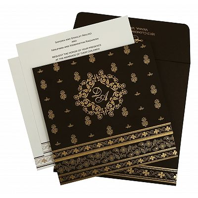 Brown Matte Screen Printed Wedding Invitation : CRU-808B - IndianWeddingCards