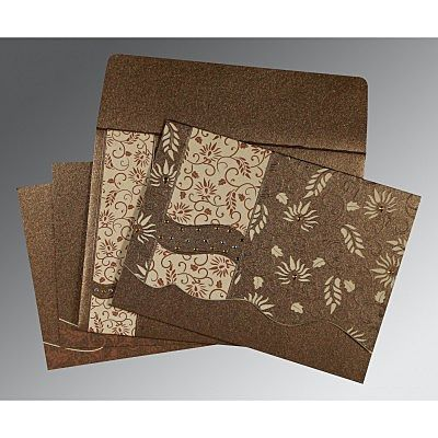 Brown Shimmery Floral Themed - Embossed Wedding Invitation : CIN-8236I - IndianWeddingCards