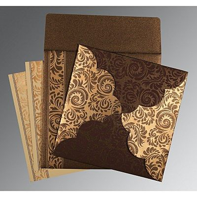 Brown Shimmery Floral Themed - Screen Printed Wedding Card : CC-8235K - IndianWeddingCards