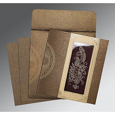 Brown Shimmery Paisley Themed - Foil Stamped Wedding Invitation : CSO-8230M - IndianWeddingCards