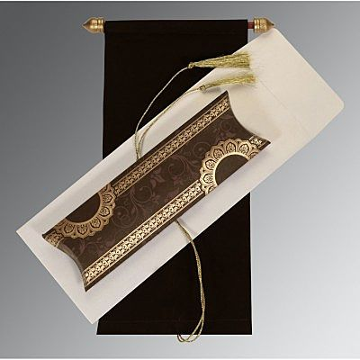 Brown Velvet Wedding Card : CSC-5010G - IndianWeddingCards